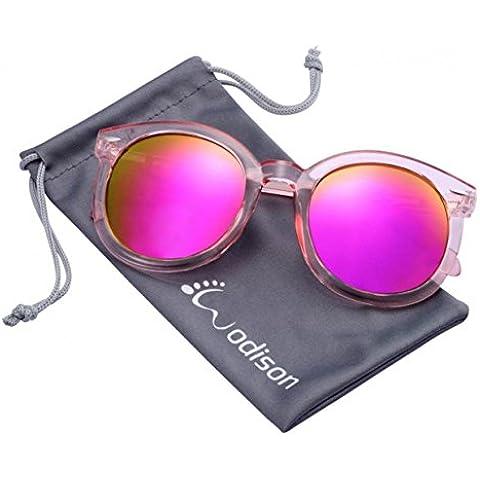 Marco WODISON Anti-UV400 gafas de sol retro con espejo lente transparente para las mujeres