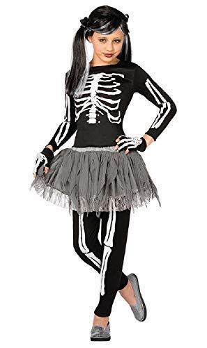 Fancy Me Mädchen 4 Stück Rosa oder Weiß Skelett Tutu Halloween Kostüm Kleid Outfit 4-12 Jahre - Weiß, 10-12 Years