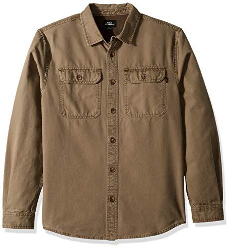 O'NEILL Herren Seasons Long Sleeve Woven Shirt Button Down Hemd, Dunkle Armee, Mittel -