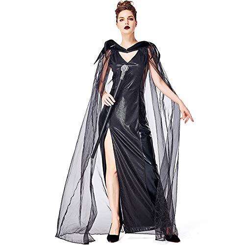 Qy Damen Halloween-Kleid, Weibliche Magier Verkleiden Sich, Böse Drachen-Stadt-Hexe, Schwarze Drachen-Schlosskönigin, Cosplay-Cosplay-Kostüm, - Bösen Drachen Kostüm