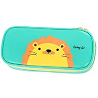 Comfysail Cute Animal Multi-functional Large Capacity PU Pen Pencil Case/Bag/Box for Boys and Girls School Students (Green lion)