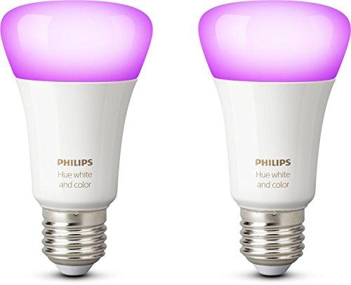 Philips Hue White and Color Ambiance - Pack de 2 bombillas LED E27, 6.5 W, iluminación inteligente, cambian de color, compatible con Apple Home Kit y Google Home