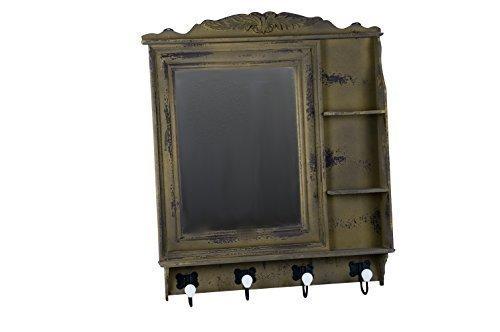 Vintage Garderobe Spiegel Hakenleiste Flurgarderobe Kleiderhaken (grün braun)