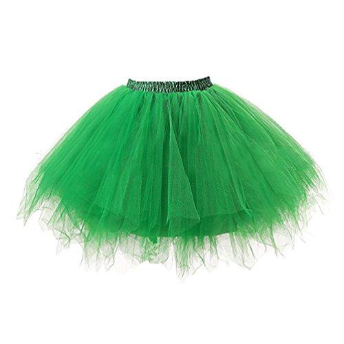 Petticoat Tutu Damenrock Tüllrock 50er Kurz Ballet Tanzkleid Unterkleid Cosplay Crinoline Unterrock für Rockabilly Kleid Grün