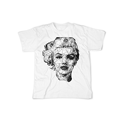 Männer T-Shirt mit Aufdruck in Weiß Gr. L Marilyn Sexy Frau Design Boy Top Jungs Shirt Herren Basic 100% Baumwolle Kurzarm (Rock Sängerin Kostüme)