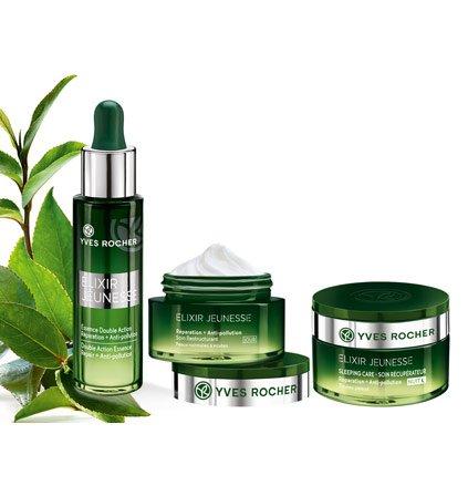 Yves Rocher ELIXIR JEUNESSE Pflege-Set, Detox Gesichtspflege-Set gegen Umwelteinflüsse, mit Tages- & Nachtpflege und Repair-Serum -