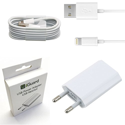 [SET] Original Apple Lightning Kabel Ladekabel 1,2m + Netzeil iGuard Weiss geeignet für Apple iPhone 5 5S 6 6S 7 PLUS / ZERTIFIZIERT MFI / Cable / Stromadapter 5W 1A