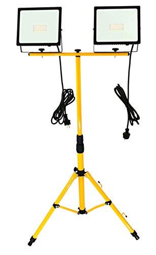 Trango 2x 50Watt LED Arbeitstrahler, Baustrahler Strahler Arbeitsleuchte 2TGG1504-506W - 6000K Tageslicht inkl. je 3m Zuleitung inkl. Stativ mit Höhenverstellbar 66-170cm
