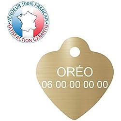 GRAVURE CONCEPT Médaille pour Chien et Chat | Médaille gravée Personnalisable | 1 à 2 Lignes (Or, Coeur)