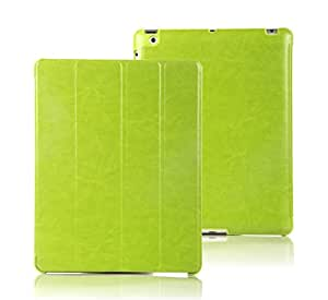 iPad 2/3/4 Case, E LV Apple iPad 2/3/4 Case Cover Full Body Protection TRIFOLD PU LEATHER Smart Case Cover for Apple iPad 2/3/4 - GREEN