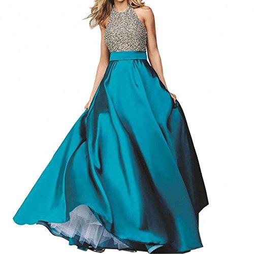 Bridal_Mall - Robe de mariage - Trapèze - Sans Manche - Femme Vert - Bleu-vert