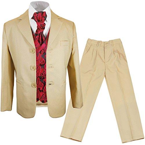 Paul Malone - Jungen Anzug für Kinder festlicher Kinderanzug beige + rote Paisley Hochzeit Weste mit Plastron 6