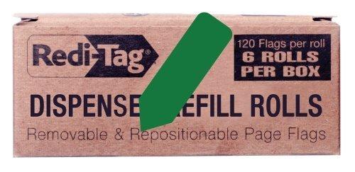 redi-tag-solid-arrow-dispenser-flags-6-roll-refill-120-flags-per-roll-1-7-8-x-9-16-inches-dark-green