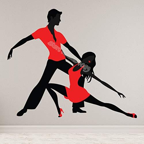 Kleid Wandaufkleber Latin Tänzer Doppel Social Dance Tango Silhouette Aufkleber Wohnzimmer Dekor Poster E 67x56cm ()