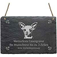 Schiefertafel « CHIHUAHUA » IHR TEXT + MOTIV - 22 x 16 cm - Schild mit Hund