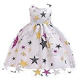 FStory&Winyee Mädchen Tutu Kleid Sterne Kinder Prinzessin Party Abendkleid Schwarz Elegant Festlich Brautjungfern Hochzeit Kleid für Weihnachten Taufe Klavier Aufführung Mädchen Kostüm 110-150