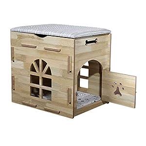 Tapis de Chat Lit pour Chien Litière en Bois Petit Chien Pet House intérieur Multi-Fonction nid de Stockage -54 / 59cm Quatre Saisons universelles lavables
