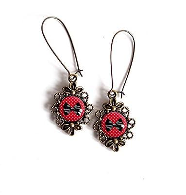 Boucles d'oreilles cabochon pendantes, style rétro ancien, Rouge à petit pois blanc, noeud papillon