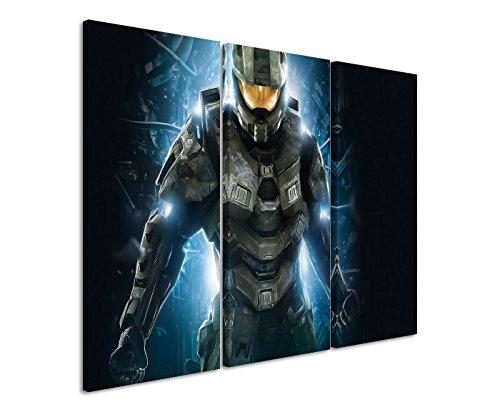Lot de 3 Impression sur toile Motif Halo 4 Master Chief II _ _ _ _ _ _ _ _ _ _ _ _ _ _ _ _ _ _ _ _ _ _ _ _ _ 3 x 90 x 40 cm, Total Taille 120 x 90 cm _ Ausführung Finition superbe Impression sur toile comme un véritable Tableau mural sur toile sur châssis