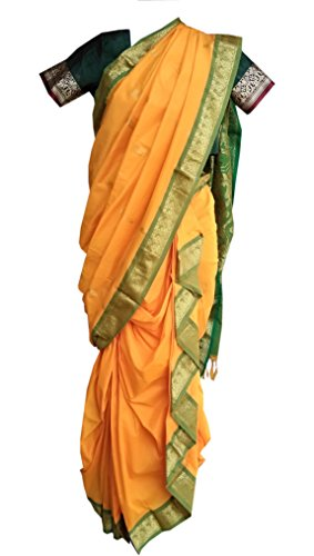 JAY VITHAI TRADITION Mastani/Peshvai Nauvari Yellow Silk Saree Ready 2 Wear (Rich...