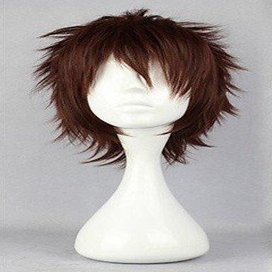 HJL-perruques de perruque cosplay populaire naturelle perruques homme brun fonc¨¦ courts boucl¨¦s anim¨¦s perruques de cheveux synth¨¦tiques , brown