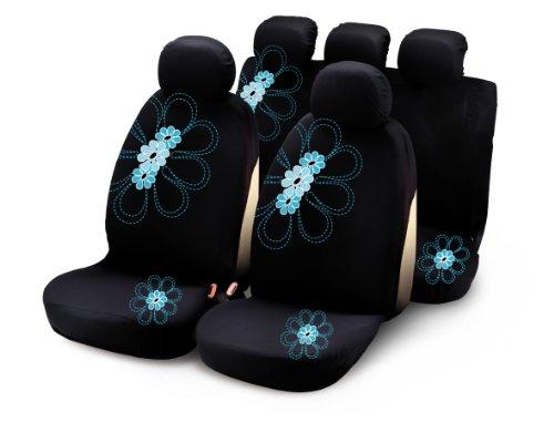Bottari 29017 Sitzbezüge My Spring Flower mit Hellblauen Blumen, 9 Teile, Schwarz - Auto-blumen-sitzbezüge
