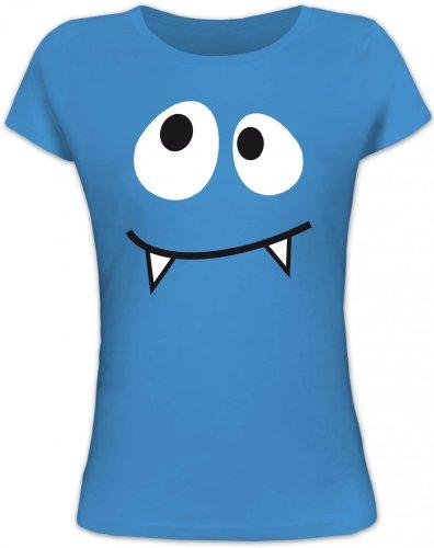 Shirtstreet24, MONSTER VAMPIRE, Karneval Fasching Kostüm Lady / Girlie T-Shirt Fun Shirt, Größe: S,blue lagoon
