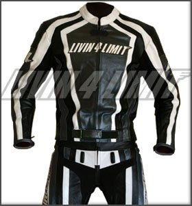 4LIMIT Sports 200100001405 Traje para Moto de Cuero, Negro / Blanco, L