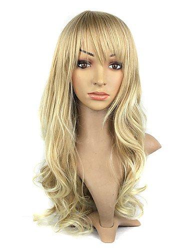 Perruque & xzl Perruques Fashion Capless Kanekalon fibre Bang Long Golden perruque de cheveux bouclés Pour Femmes