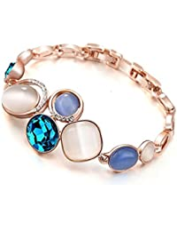 Young & Forever valentine gifts special Paradiso Sapphire Blue Rhinestone & Opal Rose Gold Plated Vintage Palace Jewellery bracelet for women / girls stylish party wear B592