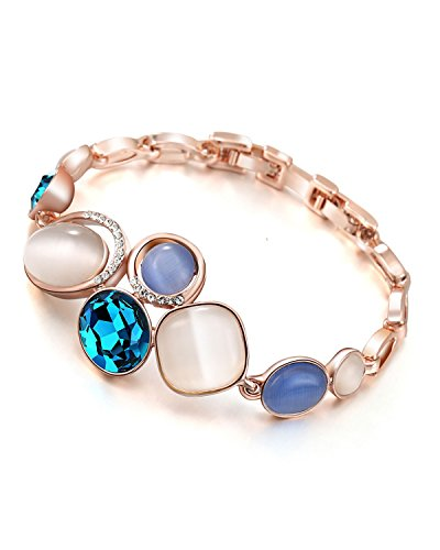 Young & Forever Paradiso Sapphire Blue Rhinestone & Opal Rose Gold Plated Vintage Palace Jewellery Bracelet for Women B592 diwali Gift special