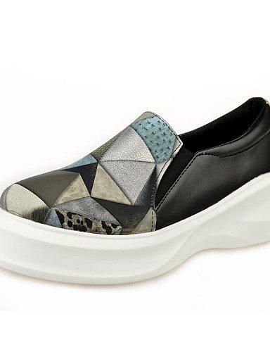 Zq Sapatos Femininos - Sapatos Baixos Outddor / L Ssig Leatherette Salto Baixo Rodada Toe Sapato Fechado Preto Vermelho Vermelho-us6.5-7 Uk4.5-5 Eu37 Cn37
