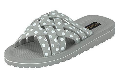 Siebi's Beach White DOTS Badeschuhe Pantoletten und Freizeitschuhe Damen: Größe: 39 EU | Farbe: Grau