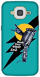 The Racoon Grip printed designer hard back mobile phone case cover for Samsung Galaxy J2 (2016). (Rock star)