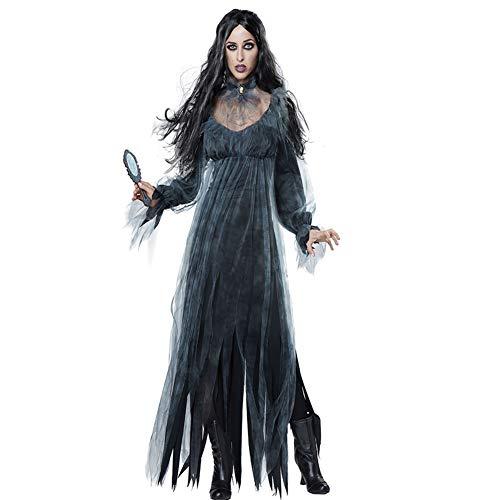Lady Dark Kostüm Women's - BERTHACC Schwarz Silber Spinnen Hexen Vampir Kostüm Für Damen Fasching Karneval Halloween, Gothic Dark Lady Halloween Karneval Fasching Verkleidung,Schwarz,XL
