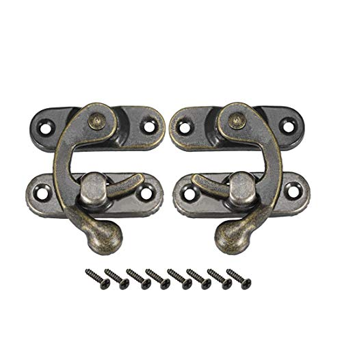 ZCHXD Antique Latch Hook Hasp, Swing Arm Latch Plated Bronze 5 Pairs with Screws -