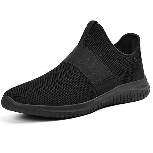 ZOCAVIA Sportschuhe Slip on Leicht Laufschuhe Sneaker Atmungsaktiv Freizeitschuhe Damen Herren Schwarz 43 EU Herren-slip-on-sneakers