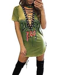ZANZEA Mujer Vestido Ajustado con Mangas Cortas Cuello En V Profundo Cordón Dress Mini De Rock