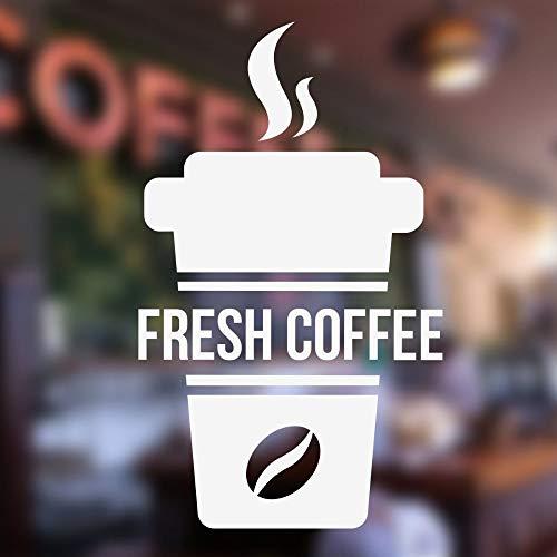 Apliques Taza de café fresca Signo de la pared calcomanías de la ventana Cafe Bar ventana pegatinas vinilo arte Mural Take Away calcomanías cocina decoración para el hogar XCM