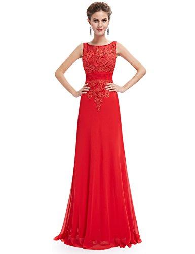 Ever Pretty Damen Elegant Lang Chiffon Lace Geblümt Abendkleid Cotailkleid 08763 vermilion