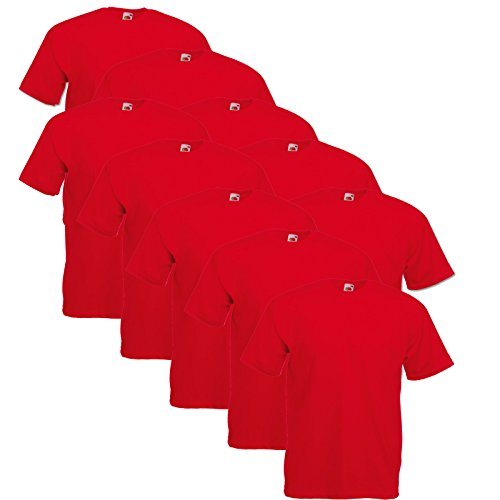 10er Pack Valueweight Fruit of the Loom T-Shirt Größe S - 5XL T-Shirts in vielen Farben rot
