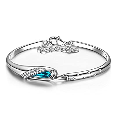 """Kami Idea Cinderella White Gold Plated Bangle Bracelet Women Made Blue Crystals from Swarovski, Allergy-Free Passed SGS Inspection, 7.1""""+0.8"""""""