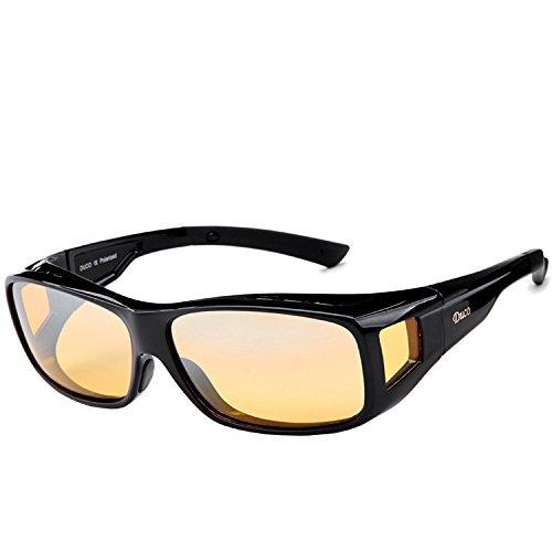 DUCO Polarisierte Nachtfahrtbrille Überbrille für Korrektionsbrille für Brillenträger Polarisierte Nachtsichtbrille 8953Y (L - Schwarz)