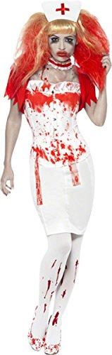 Amazon Kostüme Halloween Krankenschwester (Smiffys, Damen Blutige Krankenschwester Kostüm, Rock, Korsett, Bolerojäckchen, Halsband und Haube, Größe: L,)