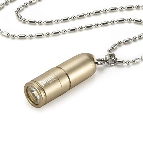 Taschenlampe Tragbar Schlüsselanhänger Wasserdicht IPX8 130 Lumen USB aufladbare Mini Halskette LED Taschenlampen (gelb)