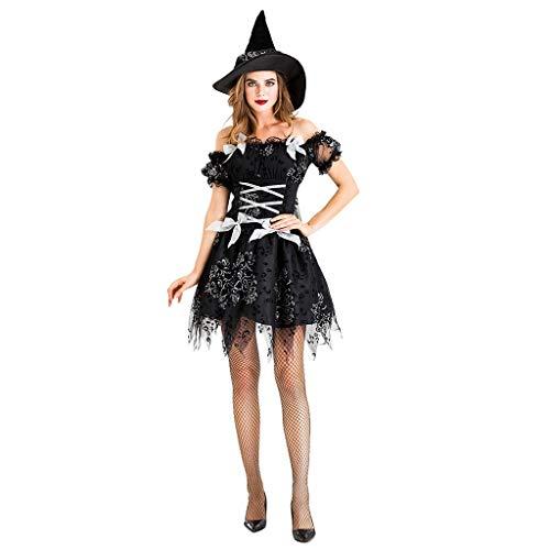 Haar Kostüm Gruselige Puppe - Beonzale Halloween Kostüm Frauen Kleidung Halloween Cosplay Hexe Vintage Gothic Festival Kurzes Kleid Steampunk Gothic Kostüm