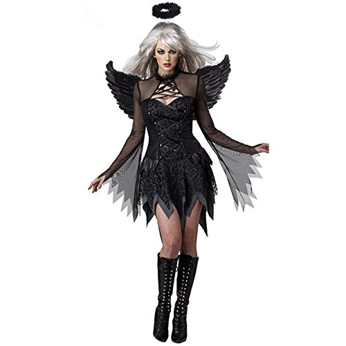 LVLUOYE Halloween Black Angel Wings Kostüm, Sexy Movie Cosplay Kostüm,M