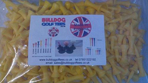 SAVER PACK of BULLDOG GOLF TEES 50: 45mm MEDIUM YELLOW PLASTIC CASTLE TEES -