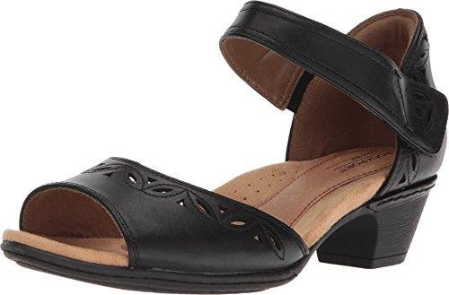 Bild von Rockport Womens Cobb Hill Abbott Two Piece Black Leather Sandal - 6.5 M