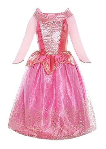 ReliBeauty–Fille–Robe d'Aurore pour enfant–Costume de Conte de fée–déguisement de La Belle au Bois Dormant–Robe en Tulle avec paillette et ornement dorés–Tenue cosplay Noël,4-5 ans